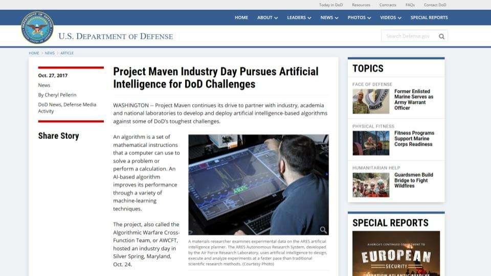 Información sobre el Proyecto Maven en la web del Departamento de Defensa de Estados Unidos