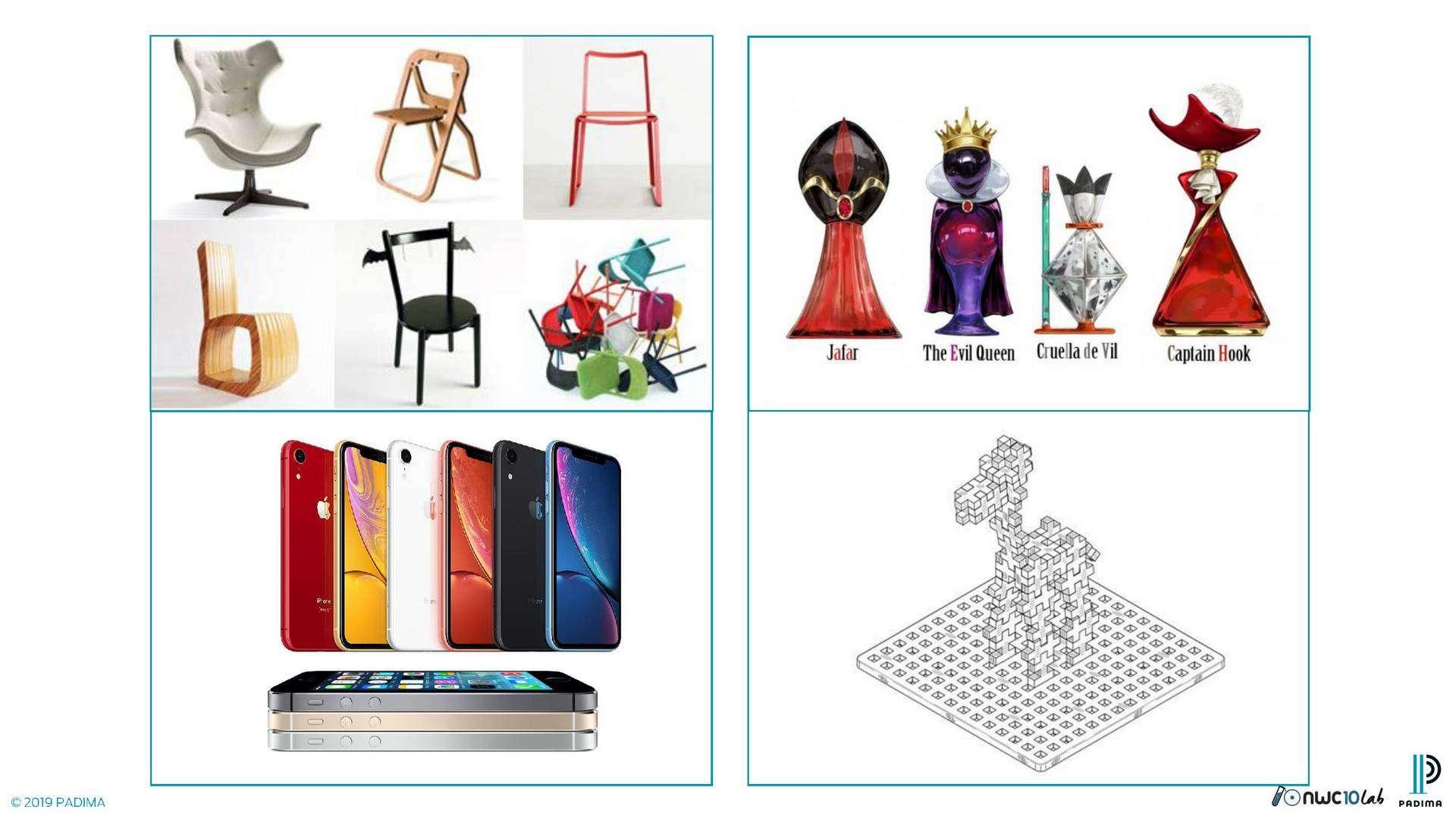 Diseños Industriales: Apariencia externas de producto: formas, diseños, partes del producto (carcasas) y modelos 3D.