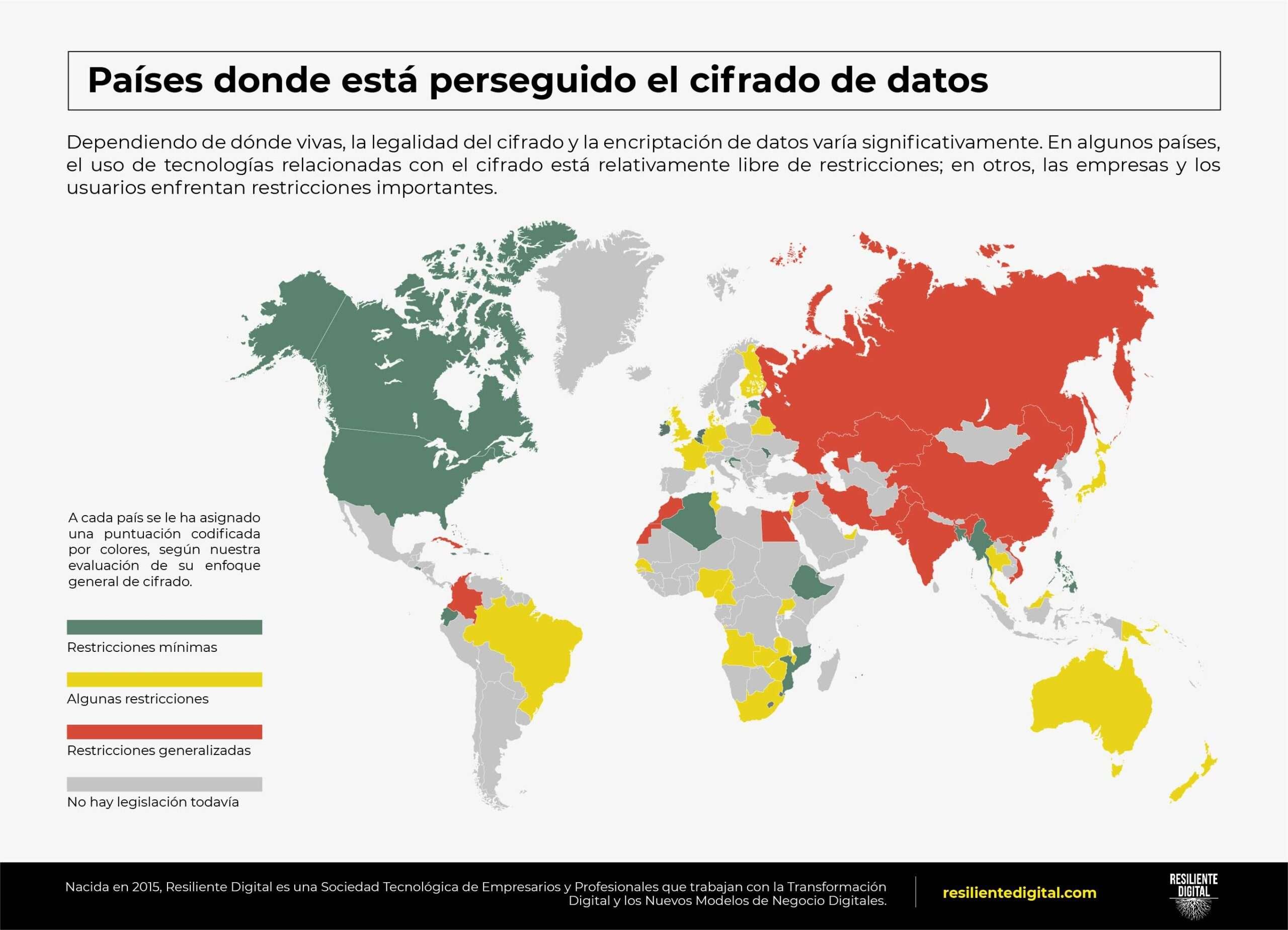 Países donde está perseguido el cifrado de datos