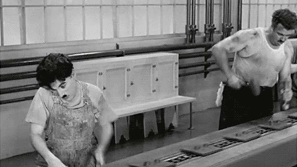 película de Chaplin Tiempos Modernos
